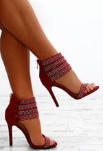 Glow With It Burgundy Embellished Multi Strap Heels