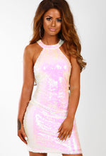 Go Glitzy White Iridescent Sequin Mini Dress
