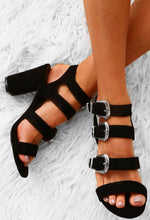 Go Rogue Black Faux Suede Multi Buckle Block Heels