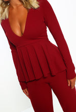 Burgundy Long Sleeve Peplum Jumpsuit - Detail