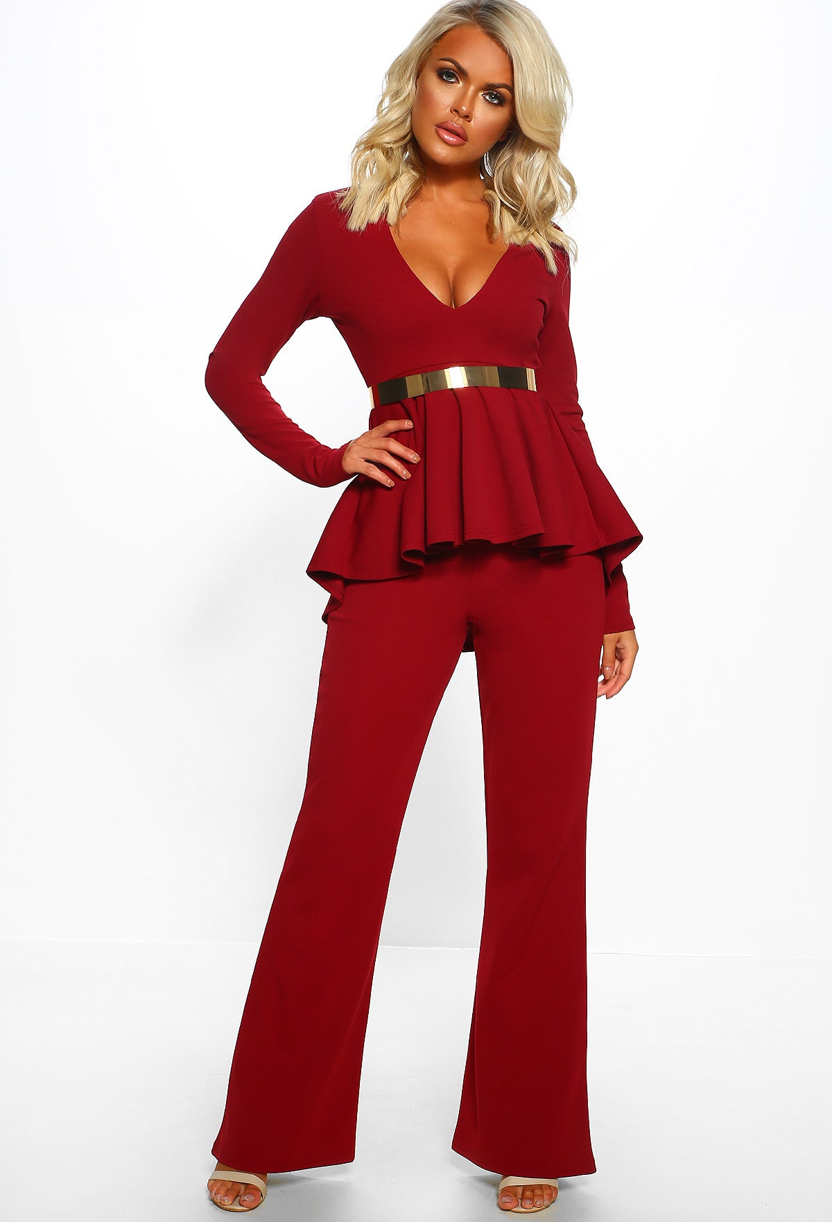38214f8bf45 Gold Luxe Burgundy Belted Long Sleeve Peplum Jumpsuit – Pink Boutique UK