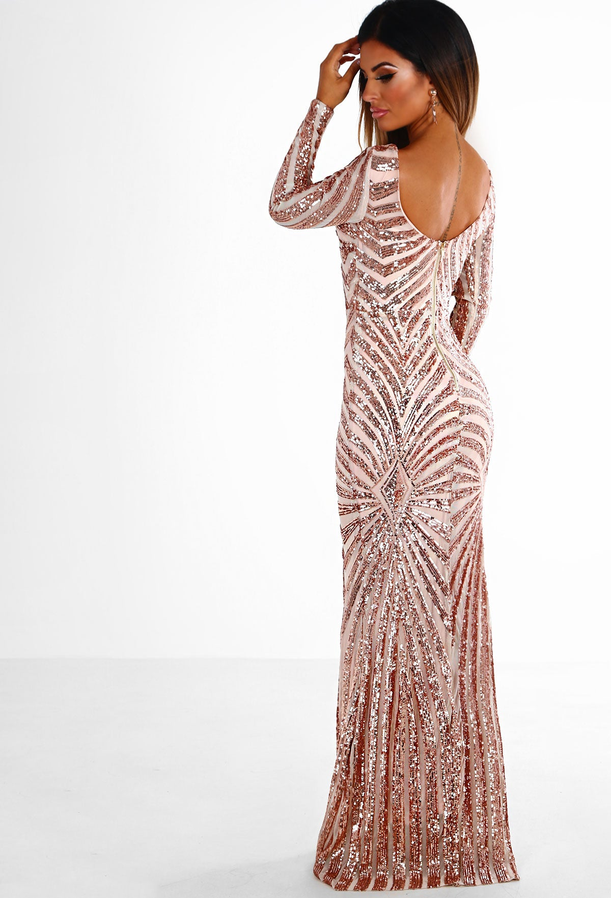 b44aaa801ac8 Golden Dreams Rose Gold Sequin Long Sleeve Maxi Dress – Pink Boutique UK