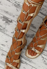 Golden Goddess Gold Flat Knee High Gladiator Sandals