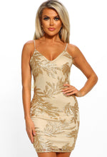 Golden Leaves Gold Sequin Strappy Mini Dress