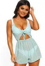 Golden N Glam Mint Tie Front Cut Out Playsuit Cover Up