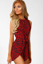 Gone Wild Red Animal Print Tie Front Playsuit