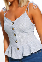 Blue Striped Button Front Top