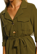 Khaki Button Detail Shirt Midi Dress - Closeup