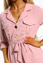 Goodnight and Go Pink Button Detail Shirt Midi Dress