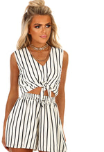 Monochrome Stripe Tie Front Crop Top