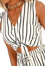 Monochrome Stripe Tie Front Crop Top - Close Up Detail