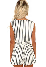 Monochrome Stripe Tie Front Crop Top - Back View