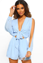 Got Your Attention Blue Tie Front Cut Out Long Sleeve Playsuit