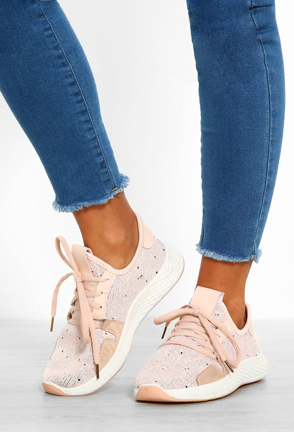 Gotta Lounge Pink Marl Knitted Trainers