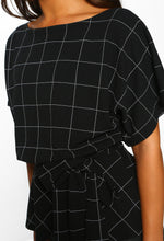 Black Checked Batwing Peplum Top - Close up View