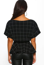 Black Checked Batwing Peplum Top - Back View