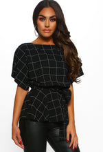 Black Checked Batwing Peplum Top