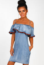 Guilt Trip Light Blue Denim Bardot Frill Mini Dress