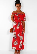 Gypsy Dream Red Frill Bardot Floral Printed Maxi Dress