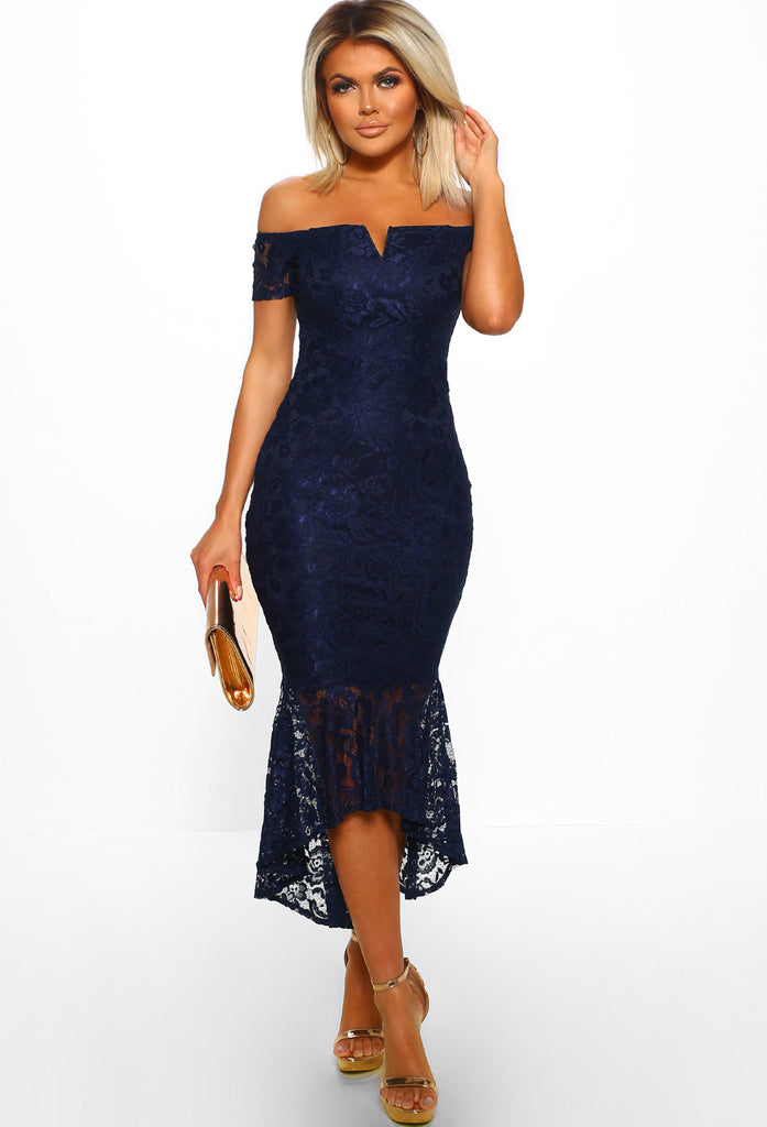 Bodycon fishtail shoulder navy dress one midi dropshippers from india