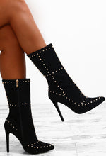 Haute Exposure Black Faux Suede Studded Calf Length Boots