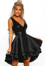 Black Sequin Multi Layer Skater Dress - Front