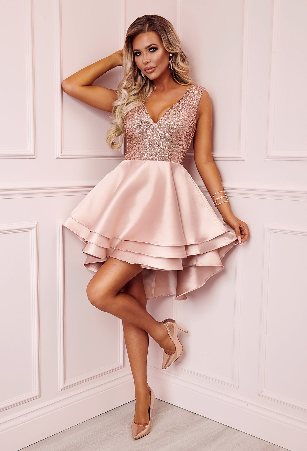 Heartbroken Rose Gold Sequin Multi Layer Skater Dress – Pink Boutique UK cde8d8299