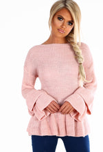 Heart Throb Pink Frill Sleeve Knitted Peplum Jumper