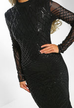 Hearts And Daggers Black Sequin Long Sleeved Midi Dress