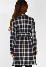 Hella Cute Grey Check Faux Suede Trench Coat