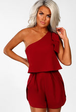 Total Beauty Burgundy Bow Shoulder Split Leg Playsuit