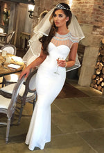 Here She Comes White Diamante Fishtail Maxi Dress