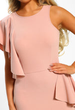 Rose Pink Frill Detail Midi Dress - Frill Detail Close up