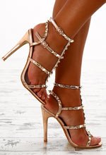 Live It Up Rose Gold Studded Cage Stiletto Heels