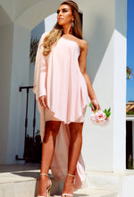 Baby Pink Chiffon Asymmetric Drape Dress - Front with Background