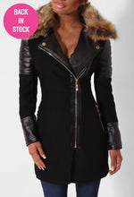 High Society Black Leatherette Sleeved Faux Fur Trim Coat