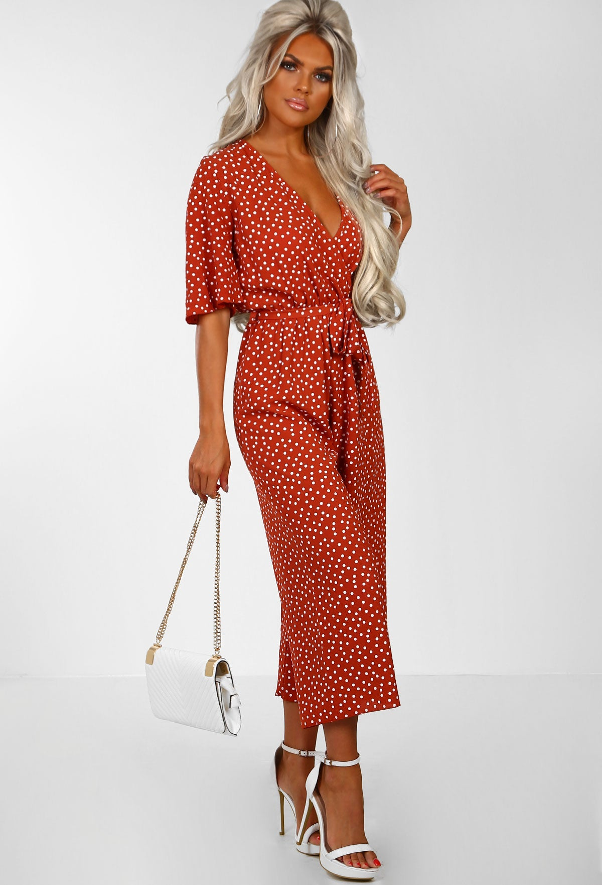 c3854ee19b Hit The Spot Rust Polka Dot Wrap Front Culotte Jumpsuit – Pink ...