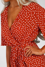 Hit The Spot Rust Polka Dot Wrap Front Culotte Jumpsuit