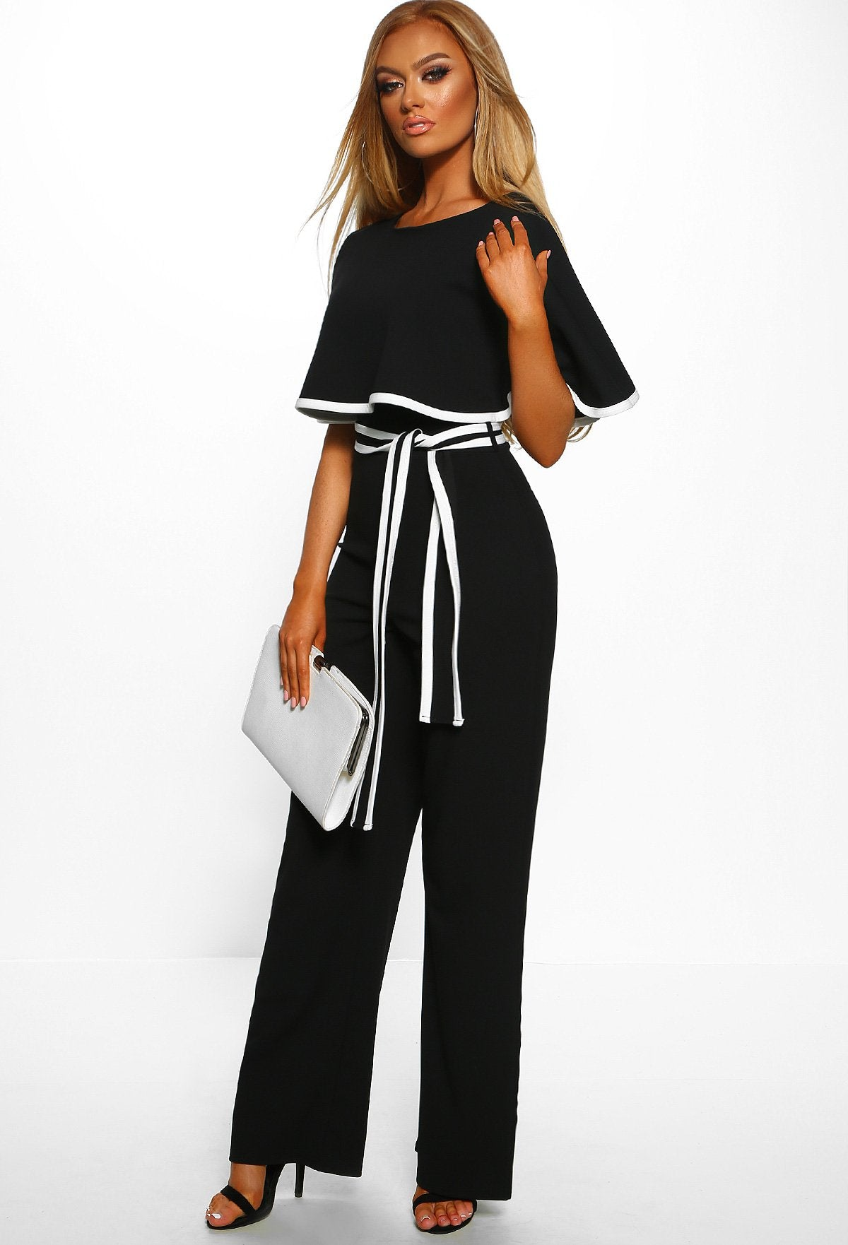 b81f98bfbaf Hold Your Own Black Double Layer Wide Leg Jumpsuit – Pink Boutique UK