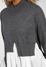 Hollywood Glamour Grey Shirt Hem Jumper