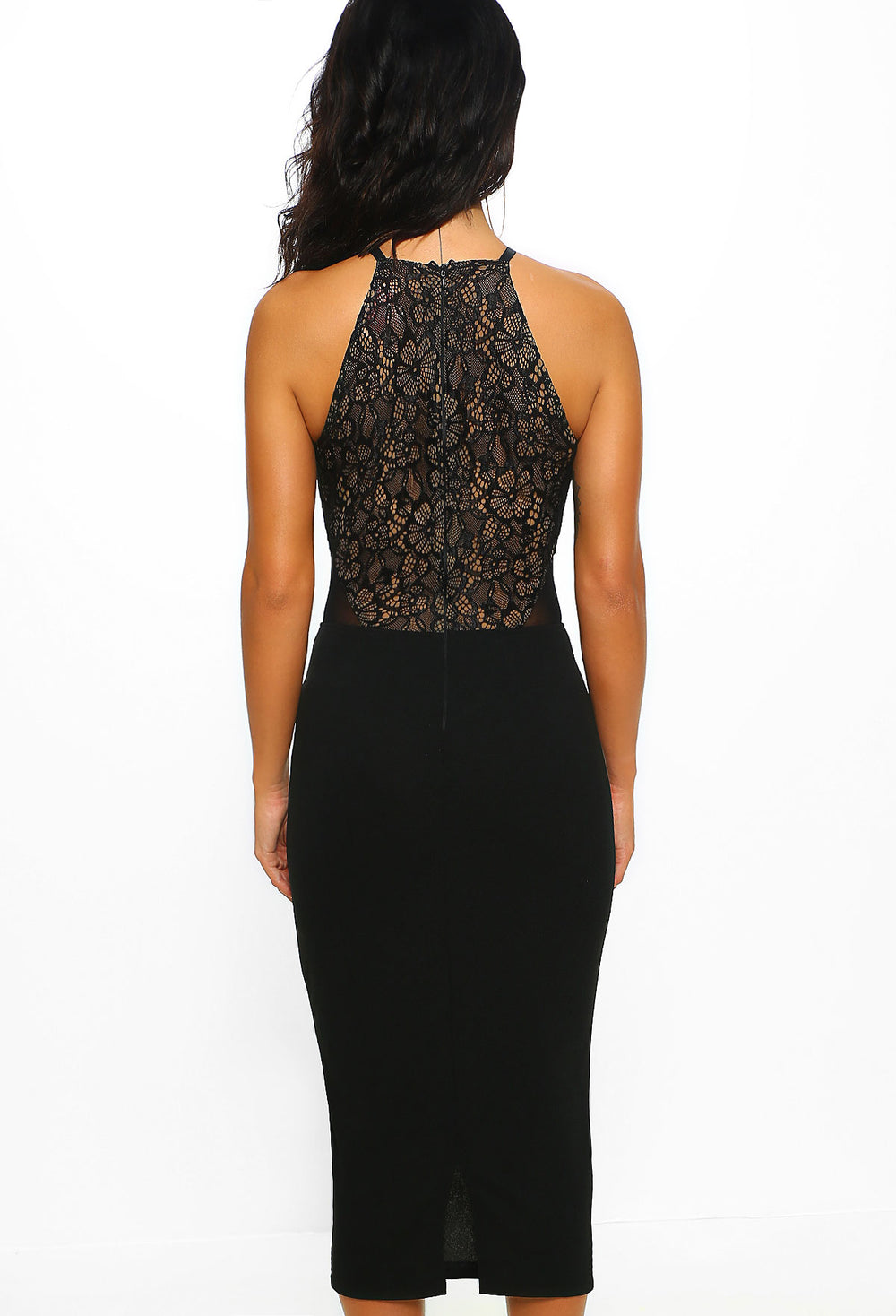 Hollywood Dreamer Black Lace Bodycon Midi Dress Pink