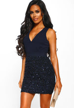 Navy Sequin Mini Dress - Front view with Accessory