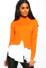 Hollywood Glamour Orange Shirt Hem Jumper