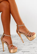 Hollywood Vixen Rose Gold Diamante Strap Platform Heels