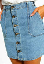 Home Girl Blue Button Front Denim Mini Skirt