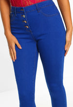 Blue Button Detail High Waist Skinny Jeans - Close Up View