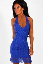 Cobalt Blue Lace Halterneck Mini Dress - Front view