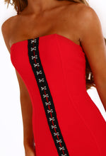 Hooked On You Red Hook And Eye Bandeau Mini Dress