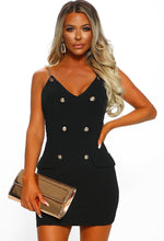 Hung Up On You Black Button Front Chain Mini Dress