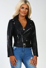 Hustler Black Faux Leather Biker Jacket